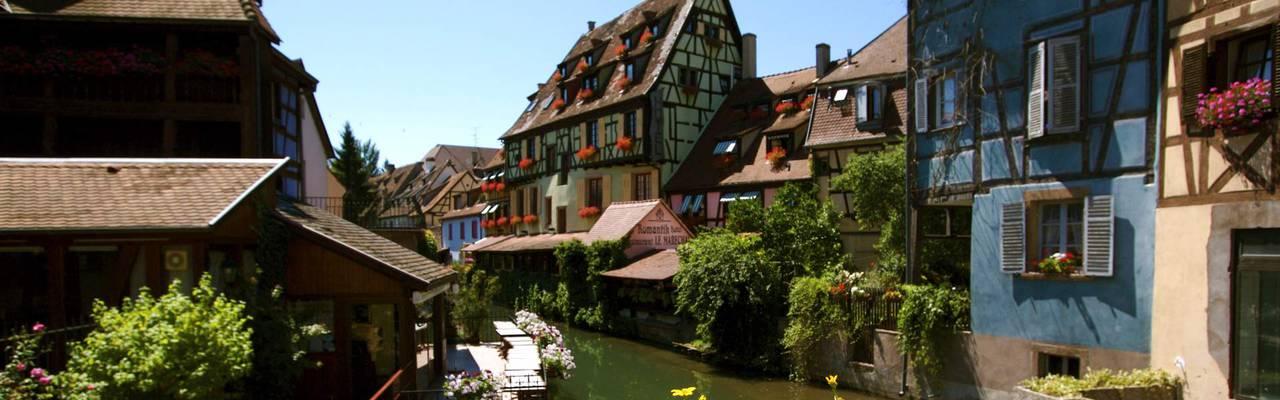 Vue de la Petite Venise, hôtel de luxe 4 étoiles à Colmar en Alsace, Le Marechal